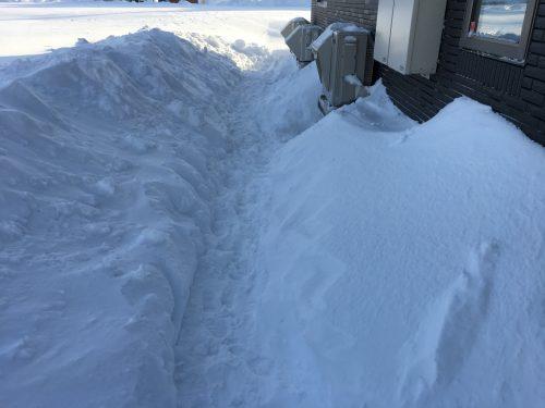 除雪した室外機周辺