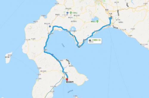 函館から新千歳空港のルート